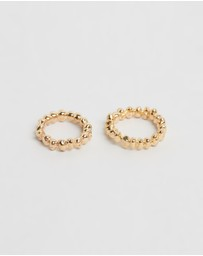 Joanna Laura Constantine - Set of Two Brass Pearl Gold Plated Rings