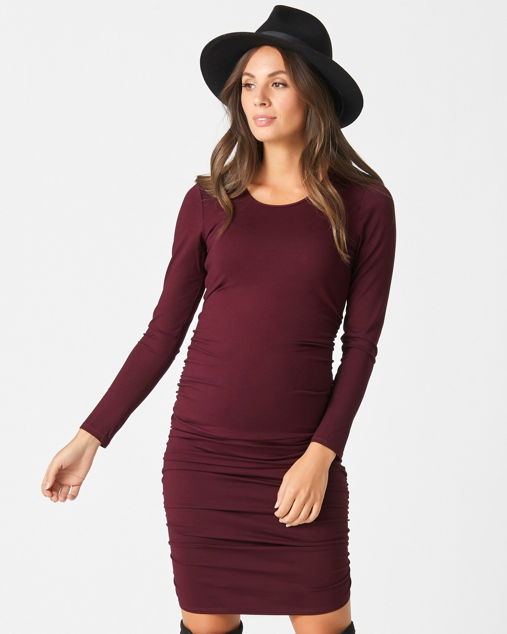 Pea in a Pod Maternity Bailey Gather Dress Bodycon Dresses Burgandy Bailey Gather Dress
