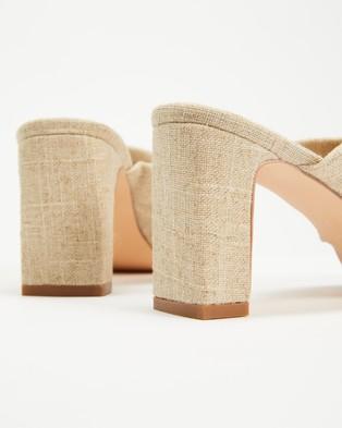 AERE - Twisted Linen Block Heels - Sandals (Natural Linen) Twisted Linen Block Heels