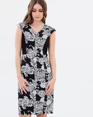 Privilege – Moonflower V Neck Panelled Dress