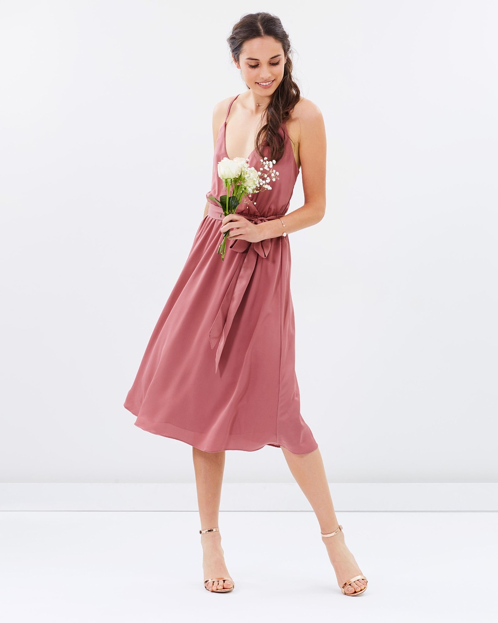 Atmos & Here ICONIC EXCLUSIVE Arabella Cross Back Dress Bridesmaid Dresses Rose Dust ICONIC EXCLUSIVE Arabella Cross Back Dress