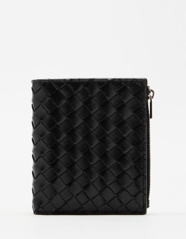 Men Woven Leather Ziptop Wallet