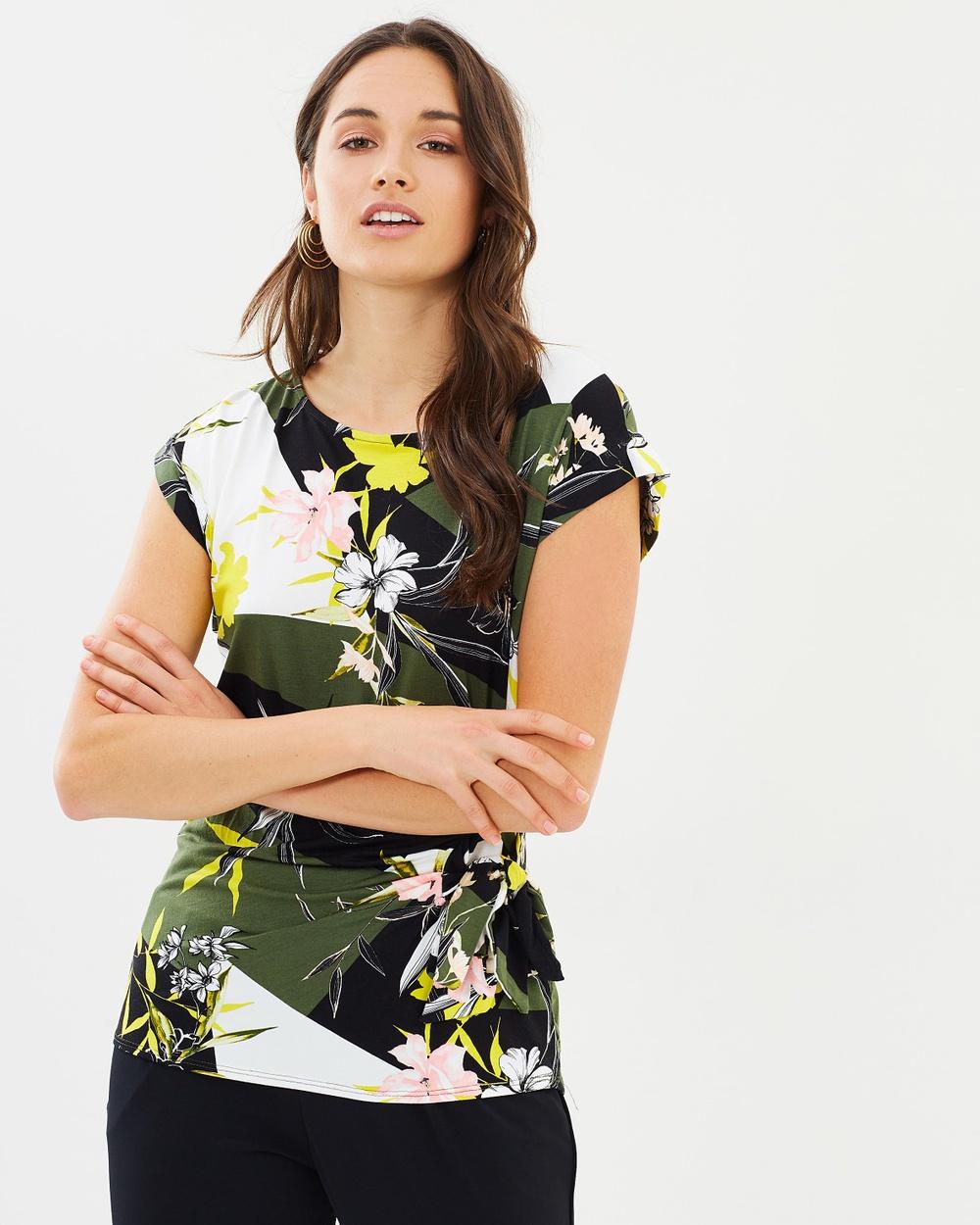 Wallis Zesty Geo Floral Tie Side Top Tops Khaki Olive Zesty Geo Floral Tie Side Top