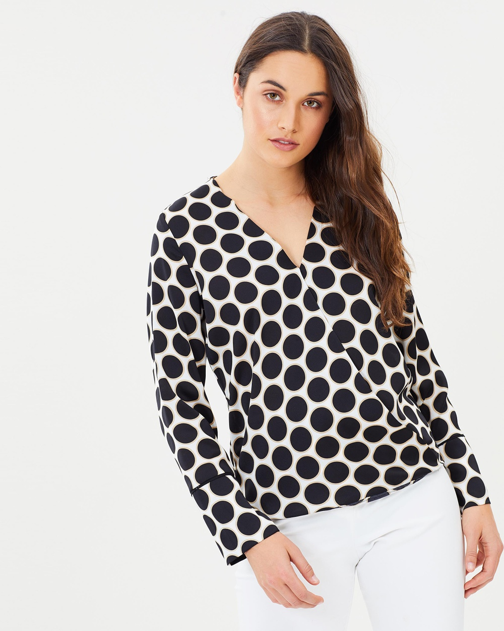 Wallis Halo Spot Fluted Sleeve Top Tops Black & White Halo Spot Fluted Sleeve Top