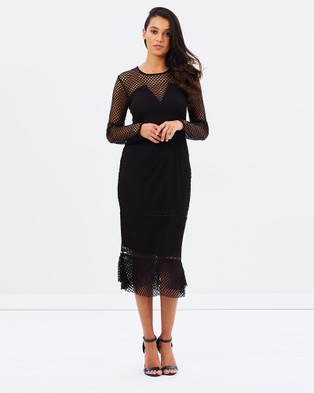 SHILLA THE LABEL – Creator Net Long Sleeve Midi Dress – Dresses (Black)