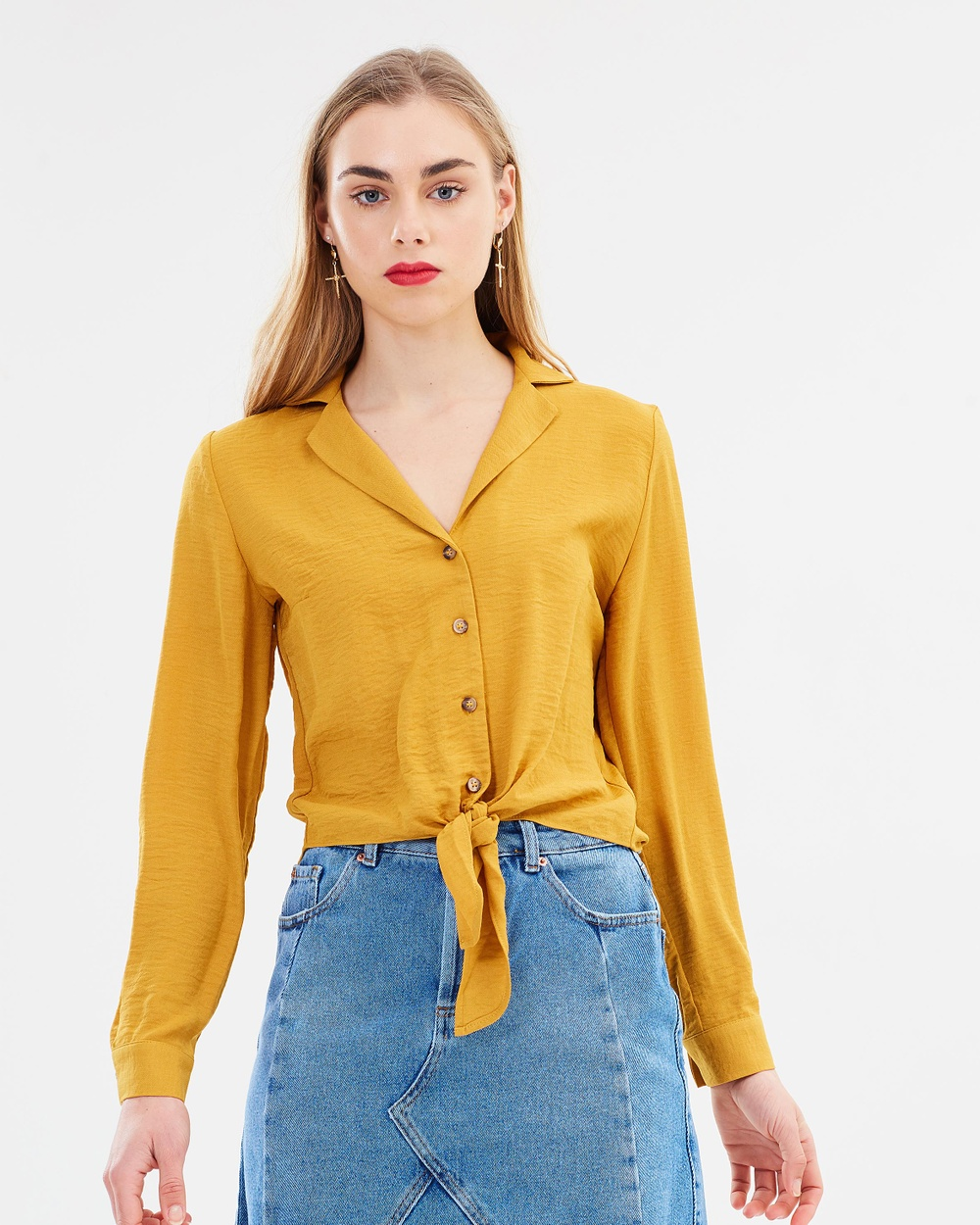 Miss Selfridge New Tie Front Shirt Cropped tops Yellow New Tie Front Shirt