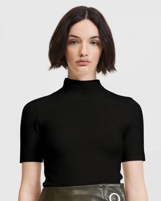 ARIS Midsleeve High Neck Top - Tops (Black)