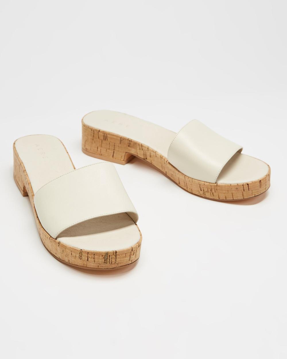 AERE Leather Single Strap Cork Mules Sandals Cream Leather
