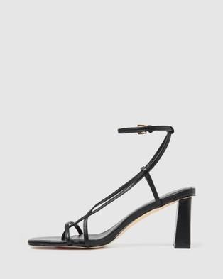 Forever New Indiana Strap Mid Block Heel - Heels (Black)