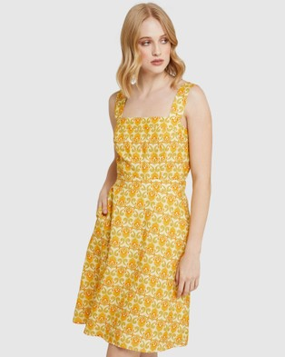 Oxford Tali Printed Linen Dress - Printed Dresses (Yellow)
