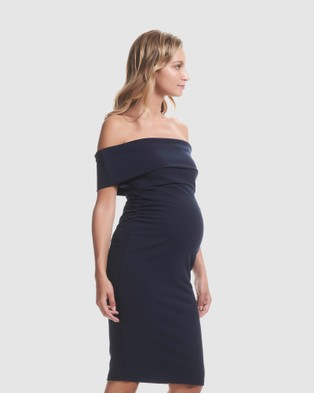 Soon Maternity Claire Off Shoulder Dress - Bodycon Dresses (Navy)