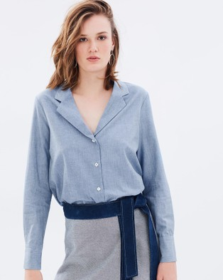 Primari – Denim Chambray Pyjama Shirt – Tops (Chambray)