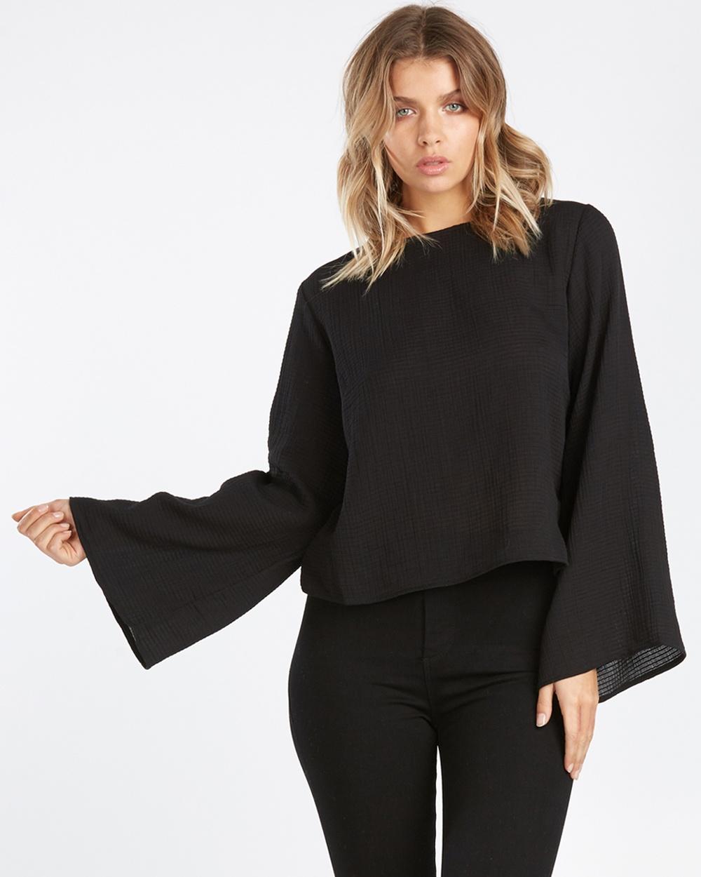 Calli Cassa Bell Sleeve Top Cropped tops Black Cassa Bell-Sleeve Top