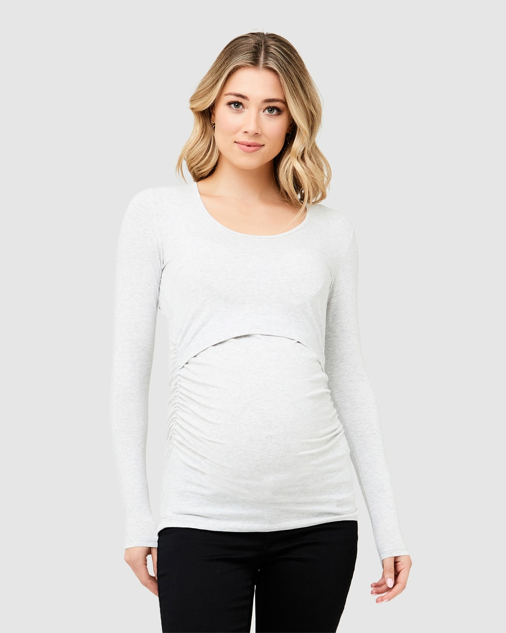 Ripe Maternity Ali Up Down Nursing Long Sleeve Tee Tops Silver Ali Up-Down Nursing Long Sleeve Tee