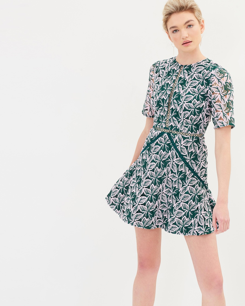 Keepsake the Label Wild Things Lace Dress Printed Dresses Forest Green with Blush Wild Things Lace Dress
