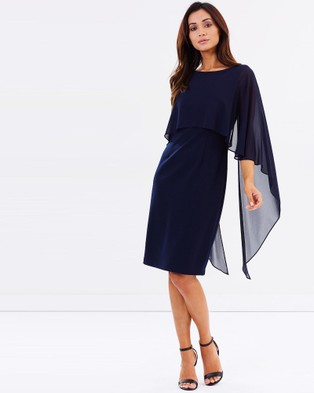 Montique – Ariel Overlay Shift Dress – Dresses (Navy)