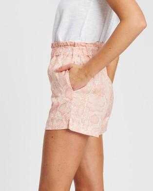 White By FTL Nina Shorts - High-Waisted (Peach Snake)