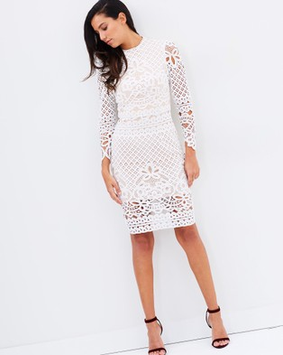 Romance by Honey and Beau – Annabelle Lace Long Sleeve Dress White