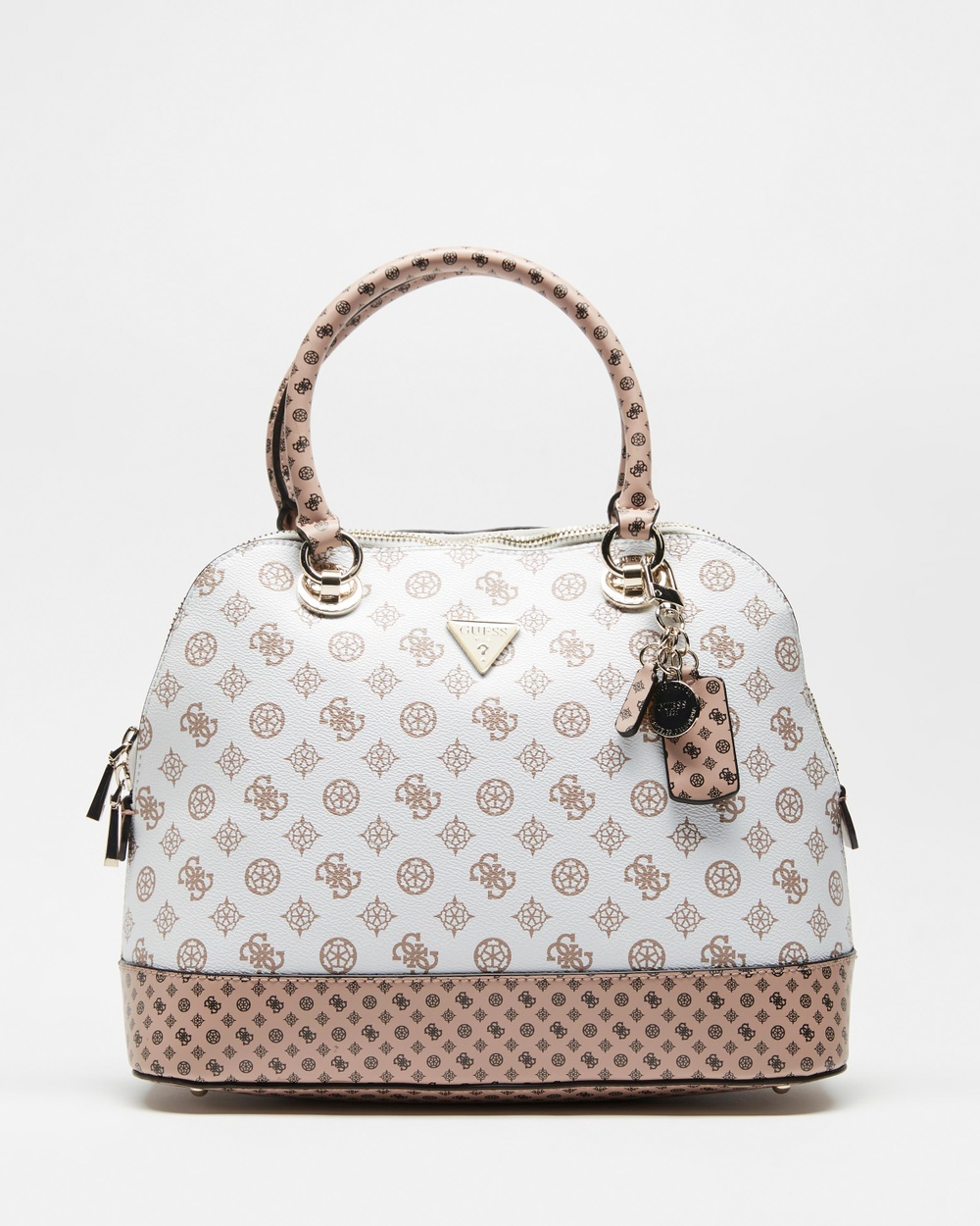 Guess Cessily Dome Satchel Bag Handbags White Multi