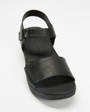 Vionic Raz Metallic Wedge Sandals - Wedges (Black)