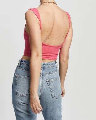 TOPSHOP Petite Petite Strappy Scoop Back Vest - Cropped tops (Fuchsia)