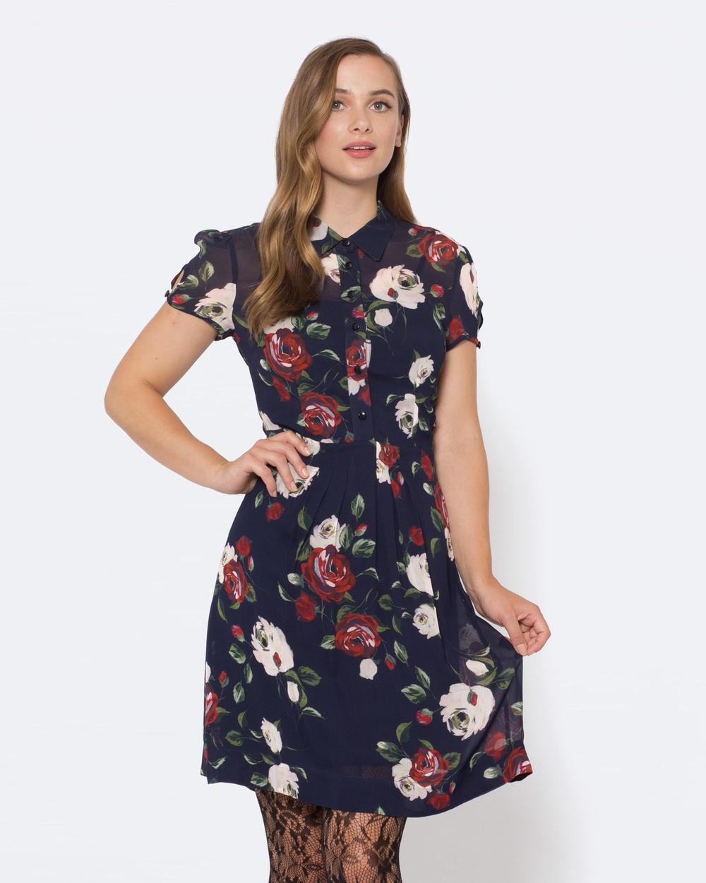 Alannah Hill Wild Rose Dress Dresses Navy Wild Rose Dress