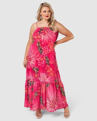 Pink Dusk Bubbles Only Print Maxi Dress - Printed Dresses (Pink)