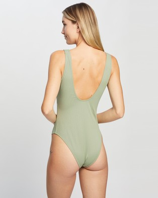 Cotton On Body Wide Strap Cheeky One Piece - One-Piece / Swimsuit (Khaki Rib)