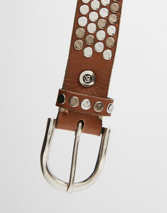 Women Silver Flat Studs Leather Belt