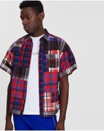White Mountaineering - Madras Check Patchwork Half Sleeve Shirt