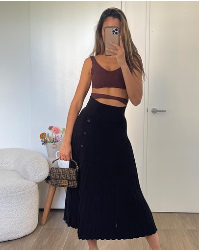 Dazie - Fall For You Pleated Midi Skirt
