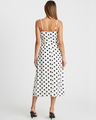 Calli Kiara Midi Dress - Printed Dresses (White Polka Dot)