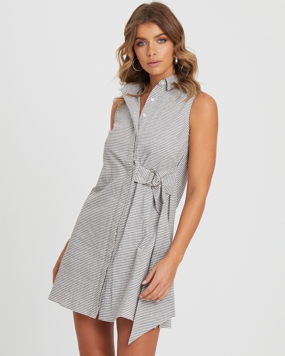 Photo of Atmos & Here Grey/ White Stripe Buckle Detail Shirt Dress - beautiful dress from Atmos & Here online