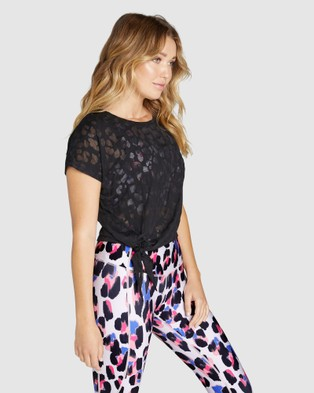 Rockwear Popsicle Side Tie Burnout Tee - T-Shirts & Singlets (BLACK)