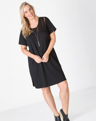 Love Your Wardrobe – Lace Yoke T Shirt Dress – Dresses (Black)