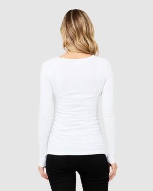 Ripe Maternity - Ali Up Down Nursing Long Sleeve Tee - Long Sleeve T-Shirts (White) Ali Up-Down Nursing Long Sleeve Tee