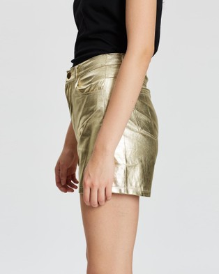 LENNI the label Astral Shorts - Leather shorts (Gold Faux Suede)