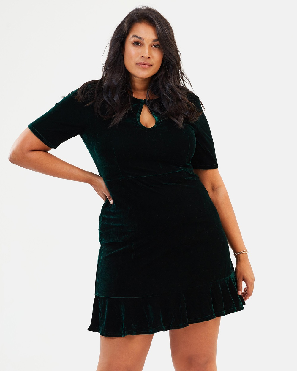 Atmos & Here Curvy ICONIC EXCLUSIVE Linda Velvet Dress Dresses Green Velvet ICONIC EXCLUSIVE Linda Velvet Dress