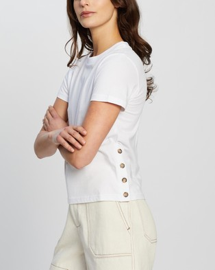 Nude Lucy Inga Button Detail Tee - T-Shirts & Singlets (White)