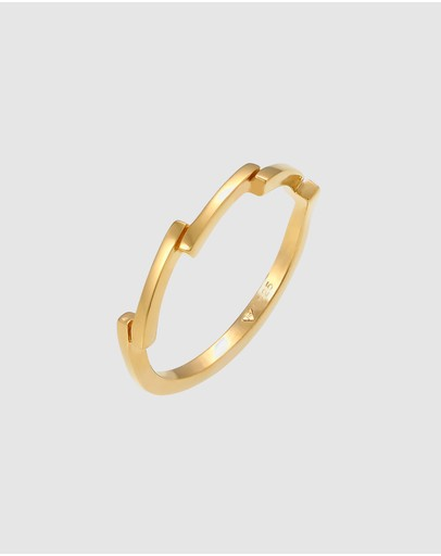 Elli Jewelry Ring Geo Trend Basic In 925 Sterling Silver Gold Plated
