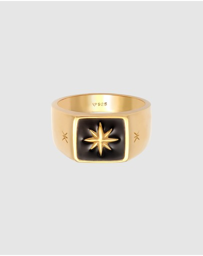Kuzzoi Ring Signet Enamel Black Star Basic In 925 Sterling Silver Gold Plated