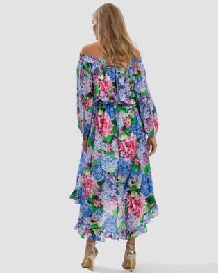Aqua Blu Australia Blossom Off Shoulder High Low Dress - Printed Dresses (Multi)