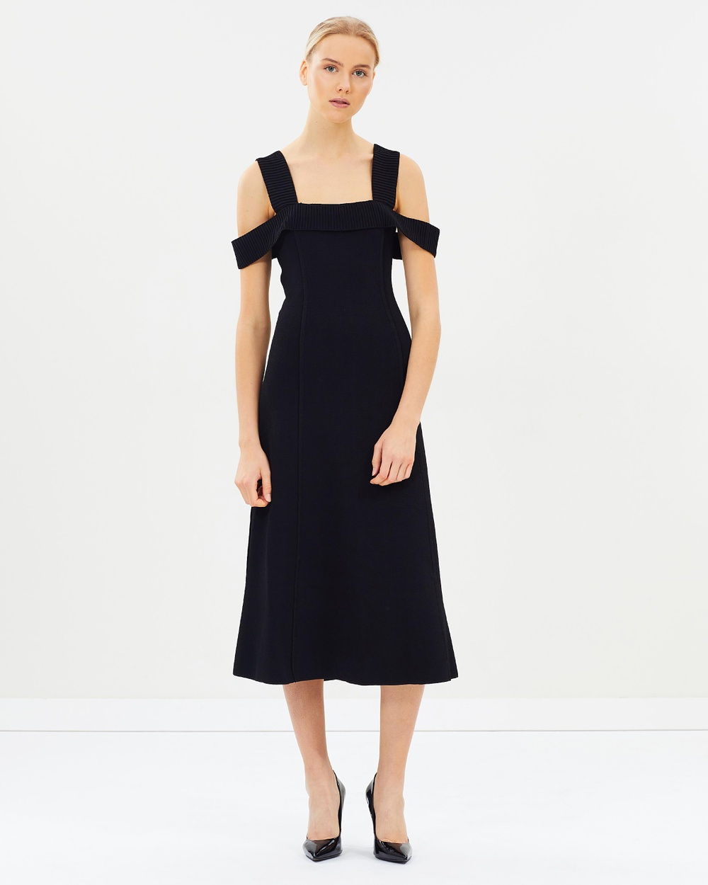 CAMILLA AND MARC Carole Fit and Flare Midi Dress Dresses Black Carole Fit and Flare Midi Dress
