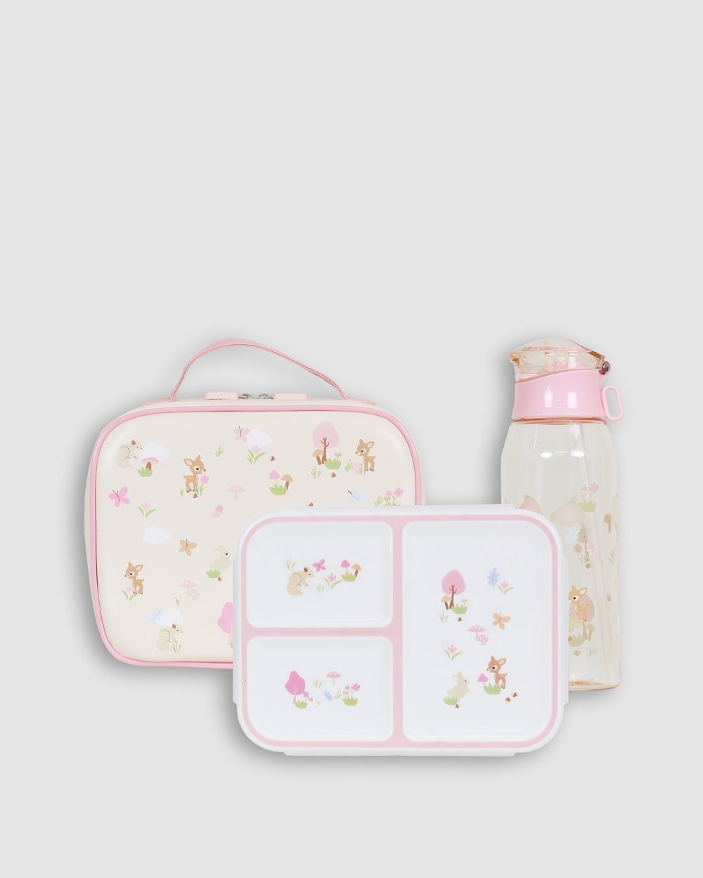 Bobbleart Large Lunch Bag Bento Box and Drink Bottle Forest Friends Novelty Gifts Buff Pink