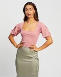Missguided - Rib Puff SS Square Neck Milkmaid Top