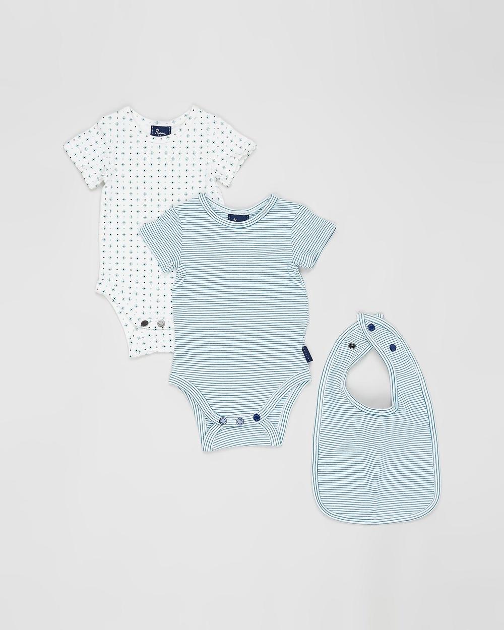 Pappe 3 Piece Nimmy SS Bodysuit Babies Bodysuits Blue/Green 3-Piece