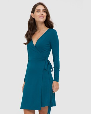 Bamboo Body Long Sleeve Wrap Dress - Dresses (Dark Teal)
