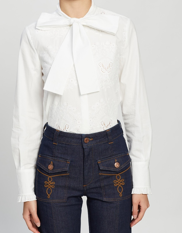See By Chloé - Embroidered Pussy-Bow Shirt