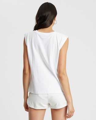 Calli Embroidered Tank - T-Shirts & Singlets (White & Black Logo)