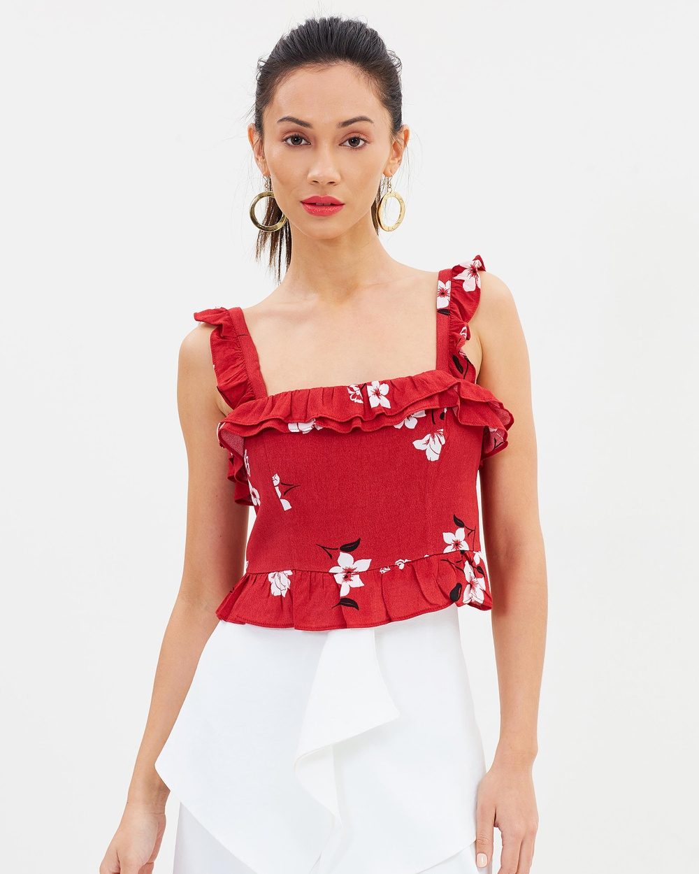 Bardot Harper Frill Top Cropped tops Red Floral Harper Frill Top